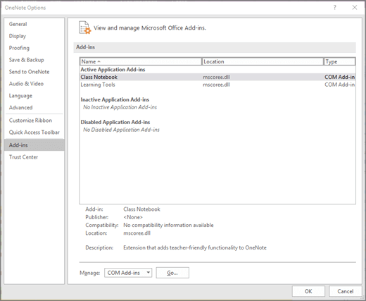 Mengelola Add-in Office panel dengan buku catatan kelas yang dipilih. Bagian untuk mengelola Add-in COM dengan tombol Buka.