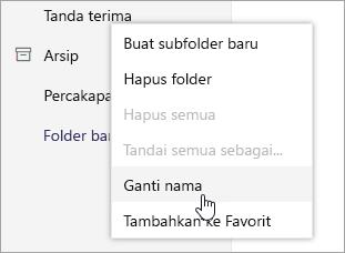 Cuplikan layar menu konteks Folder dengan Ganti Nama dipilih