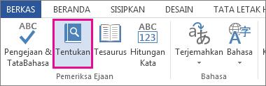 Gambar perintah Definisikan pada tab Tinjau