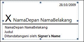 Baris tanda tangan dengan tanda tangan