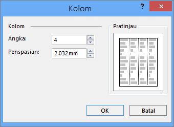 Cuplikan layar Kolom Lainnya Alat Kotak Teks di Publisher.