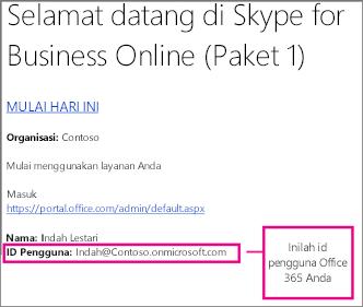Contoh email selamat datang yang Anda terima setelah mendaftar untuk Skype for Business Online. Email berisi id pengguna Office 365 Anda.