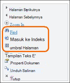 Menu di Mobile Viewer untuk Word