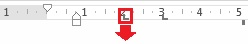 Klik dan tahan perhentian tab, dan seret ke bawah.