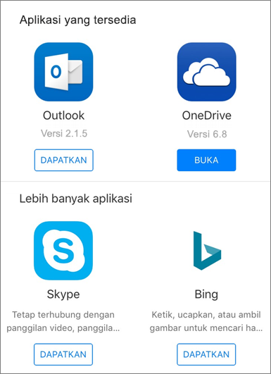 Memperlihatkan Outlook, OneDrive, Skype, dan Bing sebagai aplikasi yang tersedia untuk mendapatkan di Office 2016 untuk peluncur aplikasi iPad.