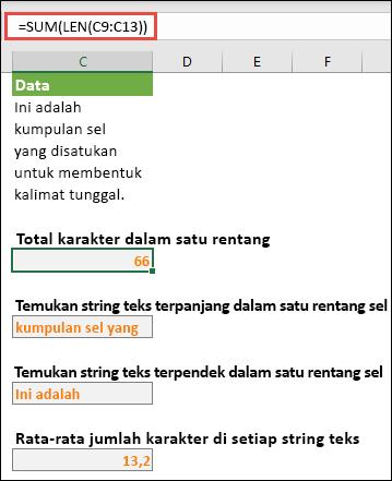 Menghitung jumlah total karakter dalam rentang, dan larik lainnya untuk bekerja dengan string teks