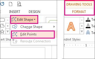 Perintah Edit Titik yang diakses dari Edit Bentuk di tab Format Alat Menggambar