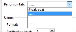 Ubah pemandu tab dalam daftar isi menjadi garis putus-putus atau titik-titik.