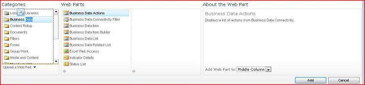 Pemilih Komponen Web memperlihatkan Komponen Web Excel Web Access