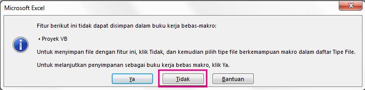 Di kotak dialog proyek VB, klik tidak.