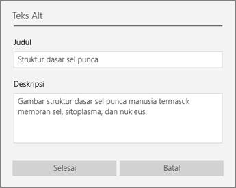 Dialog teks alternatif untuk menambahkan teks alternatif di OneNote untuk Windows 10.