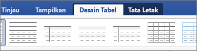 Perlihatkan tab Desain dan Tata Letak Tabel untuk mengelola tabel