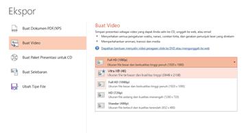 Cuplikan layar kotak dialog Ekspor memperlihatkan opsi yang tersedia ketika membuat video dari presentasi