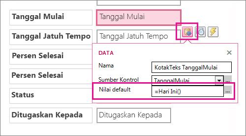 Mengatur nilai default bidang tanggal dalam aplikasi Access.