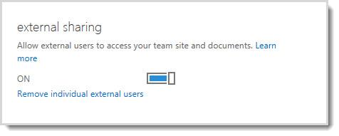 Gambar memperlihatkan kontrol aktif/tidak aktif untuk memungkinkan pengguna eksternal mengakses situs tim dan dokumen Anda.