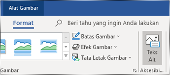 Tombol Teks Alt di pita Outlook untuk Windows.
