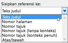Pilihan dalam Sisipkan referensi ke daftar