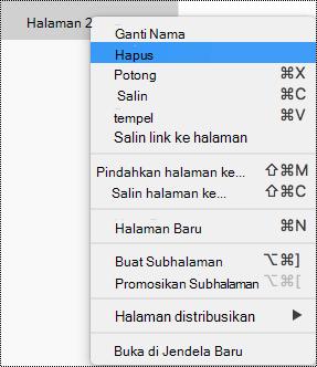 Menghapus halaman di OneNote untuk Mac