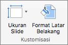 Cuplikan layar memperlihatkan grup Sesuaikan dengan opsi untuk Ukuran Slide dan Format Latar Belakang.