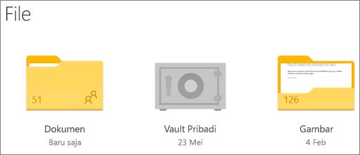 Cuplikan layar folder Personal Vault di OneDrive