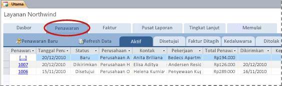 Tab Penawaran Harga dari templat database Services