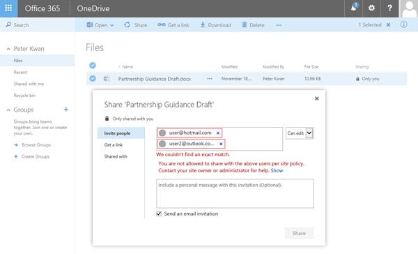 Pengguna menerima kesalahan ini saat mencoba untuk berbagi dokumen OneDrive ke alamat domain terbatas.