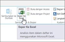 SharePoint tombol ekspor ke Excel pada pita disorot
