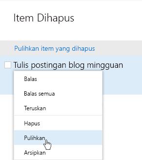 Cuplikan layar memperlihatkan menu pulihkan item yang dihapus