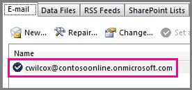 Sebuah akun dalam dialog Pengaturan Akun di Outlook 2013
