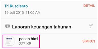 OME Viewer dengan aplikasi Android Email 1