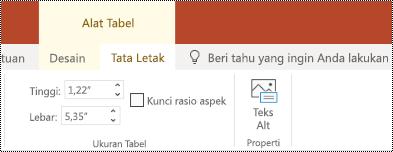 Tombol teks Alt pada pita untuk tabel di PowerPoint online.