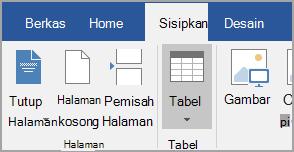 Menyisipkan tabel