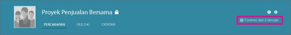 Cuplikan layar header grup Yammer, dengan ikon globe yang memperlihatkan bahwa itu adalah grup eksternal.