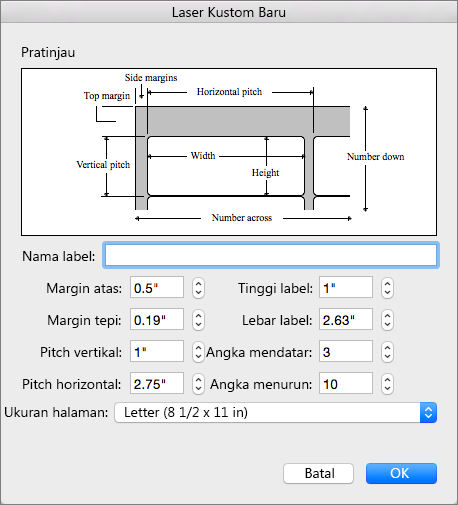 Atur dan sesuaikan ukuran agar sesuai dengan label yang ingin Anda cetak.