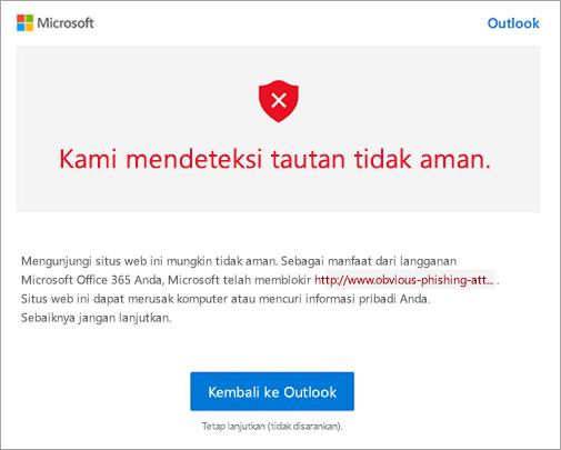 Cuplikan layar peringatan link tidak aman