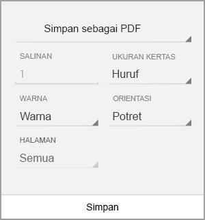 Menyimpan sebagai PDF