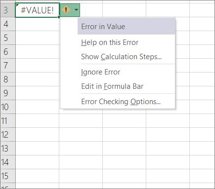 Daftar turun bawah yang muncul di samping ikon jejak nilai