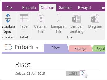 Cuplikan layar cara mengubah stempel waktu pada halaman di OneNote 2016.