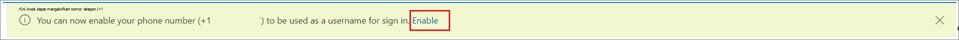 Cuplikan layar yang memperlihatkan banner untuk mengaktifkan akses masuk ke SMS untuk nomor telepon dengan tindakan 'Aktifkan' yang dipilih.