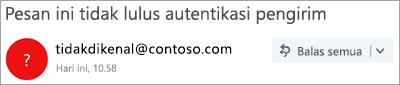 Cuplikan layar tanda tanya dalam gambar pengirim