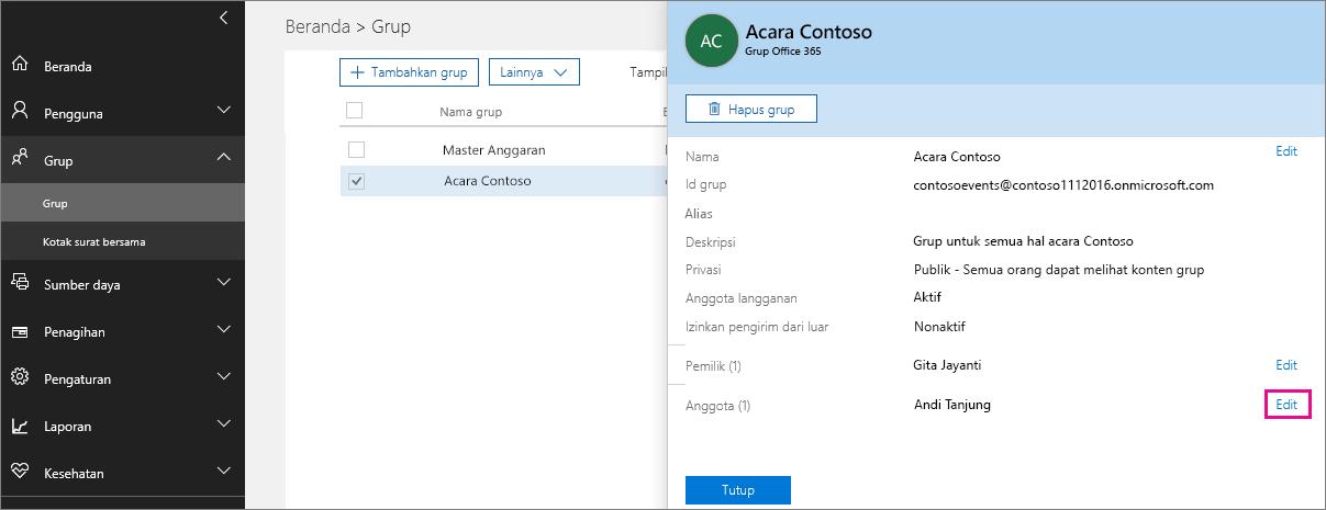 Cuplikan layar dengan tautan Edit pengguna disorot