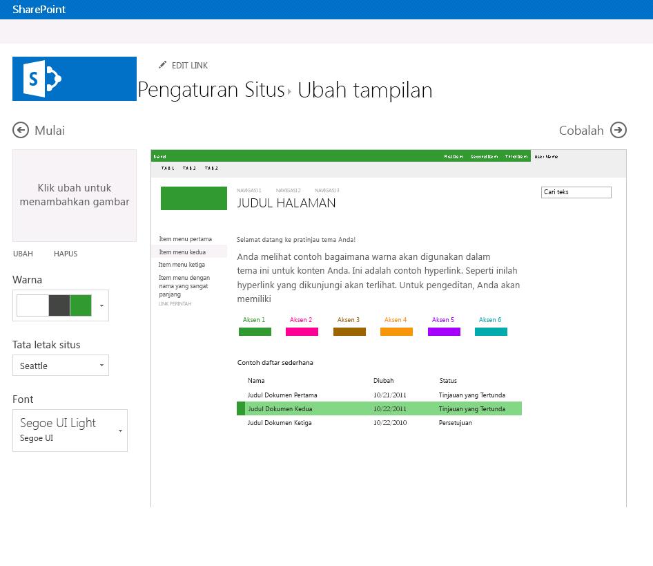 Mengubah warna, tata letak, dan tema situs penerbitan SharePoint