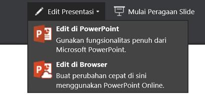 Edit Presentasi untuk memilih edit di browser