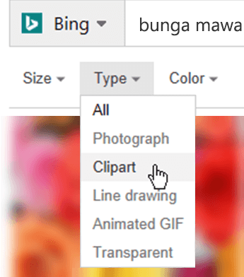 Buka filter Tipe, lalu pilih Clipart
