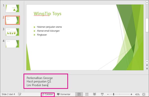 Memperlihatkan panel Catatan pembicara di PowerPoint