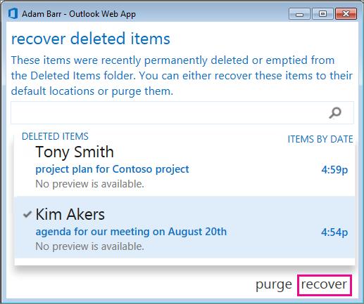 Kotak dialog Pulihkan item dihapus Outlook Web App