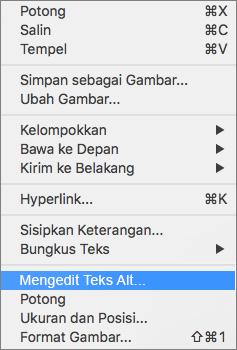 Opsi teks Alt di menu konteks di Word