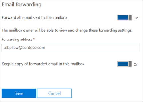 Cuplikan layar: Masukkan pengalihan alamat email