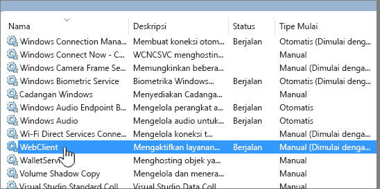Services. MSC dengan WebClient disorot