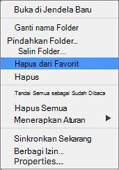Hapus dari favorit opsi pada menu konteks